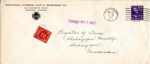 U.S. Scott 807 Prexie/Prexy On Postage Due 1952 Wisconsin Cover