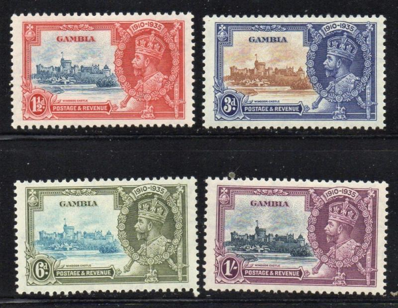 Gambia Sc 125-8 1935 G V Silver Jubilee stamp set mint