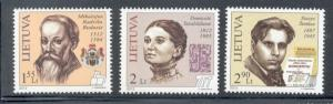 Lithuania Sc 967-9 2012 Famous Lithuanians stamp set mint NH