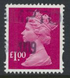 Great Britain SG Y1744 SC# MH373  Machin £1 Used  Magenta
