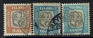 Iceland SC# O33-O35, Used, small Hinge Remnant - Lot 041217