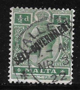 Malta 77: 1/2d George V Overprinted, used, F