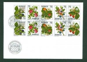 Sweden.  FDC 1977  10-Block  Wild Berries