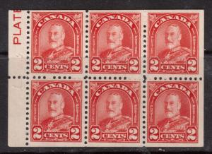Canada #165bi VF Mint Booklet Pane With Inscribed Plate In Margin
