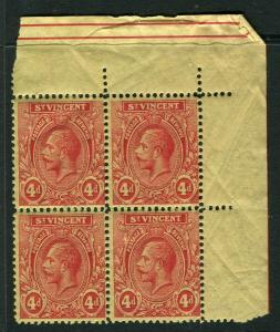 ST. VINCENT; 1921 early GV issue fine Mint hinged 4d. Corner Block of 4