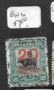 NORTH BORNEO (P0306B) 20C/18C COW  BNB  CANCEL  VFU