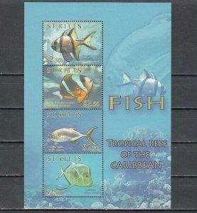 St. Kitts, Scott cat. 756 A-D. Tropical Fish sheet of 4. *