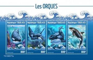 TOGO - 2019 - Orcas - Perf 4v Sheet - M N H