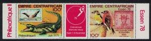 Central African Empire Red crossbills Birds Crocodile strip of 2v+label
