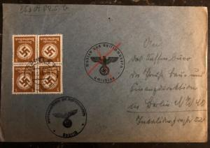 1943 Opole General Government Germany Official Cover To Berlin
