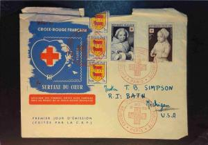 France 1951 Red Cross Semi Postal First Day Cover (Rough Top) - Z1651