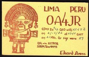 QSL QSO RADIO CARD OA4JR,Eduard Arens,Peruvian Artifact, Lima Peru (Q2659)
