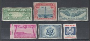 US Sc C9/O138 MNH. 1927-1985 Back of Book, 6 different Air Mail & Official