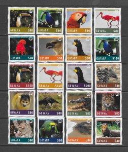 BIRDS - GUYANA #4321-40  BIRDS & ANIMALS  MNH