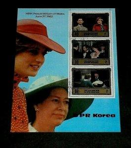 KOREA, 1982, PRINCE WILLIAM OF WALES, CTO, SHEET/4, LOT #2, NICE! LQQK!