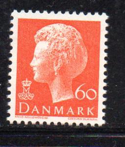 Denmark Sc 533 1974 60 ore orange Queen stamp NH