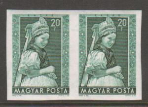 Hungary Sc 1062 var MNH. 1953 20f blue green Kazàr Costume, imperf pair, VF+