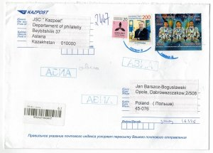 Kazakhstan 2019 Registered Cover to Poland Stamps Space Astronauts Future Energy