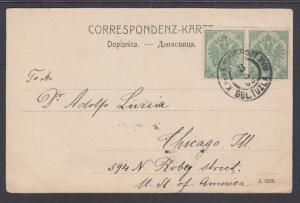 Bosnia & Herzegovina Sc 14 pair on 1902 PPC to Chicagp, Military Cancel
