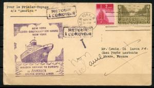 UNITED STATES 1946 FIRST VOYAGE OF THE S/S AMERICA RETURN TO SENDER COVER