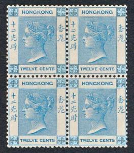 HONG KONG 46 MINT NH, 12c BLUE VICTORIA, BLOCK 4, WMK CA