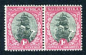 South Africa 1930. Unused pair x 1d black & carmine (II). Mint. LH. SG43d.