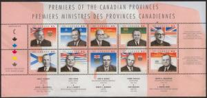 Canada USC #1709 Mint VF-NH 1998 Provincial Premiers Pane of Ten - Cat. $15.
