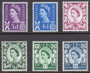 GB Scotland QEII 1958 Definitives Set S1-S6 Mint Never Hinged MNH UMM