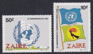 Zaire # 1205-1206, UN Anniversary, NH, 1/2 Cat