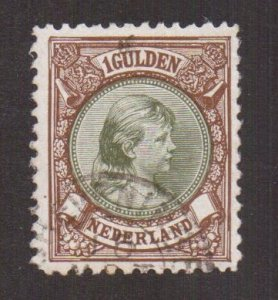 Netherlands  #52  1896  used  1g  Wilhelmina