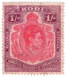 (I.B) KUT Revenue : Tanganyika Kodi 1/- (1938)