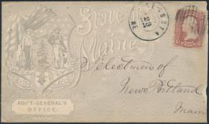 1863 #65 ON FULL FRONT CIVIL WAR PATRIOTIC DESIGN STATE OF MAINE COVER BS1157