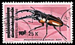 Zaire 853, used, Surcharge on Congo, Beetle