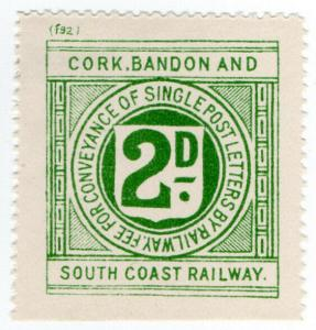 (I.B) Cork Bandon & South Coast Railway : Letter Stamp 2d (plate f92)