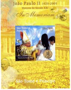 SAO TOME & PRINCIPE 2005 SPACE Pope John Paul II DeLuxe s/s Mint (NH) #8