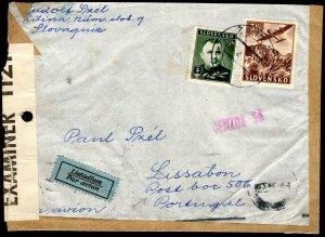 SLOVAKIA WW2 1942 Cover UNDERCOVER ADDRESS *Box 506* Lisbon British Censor MC323