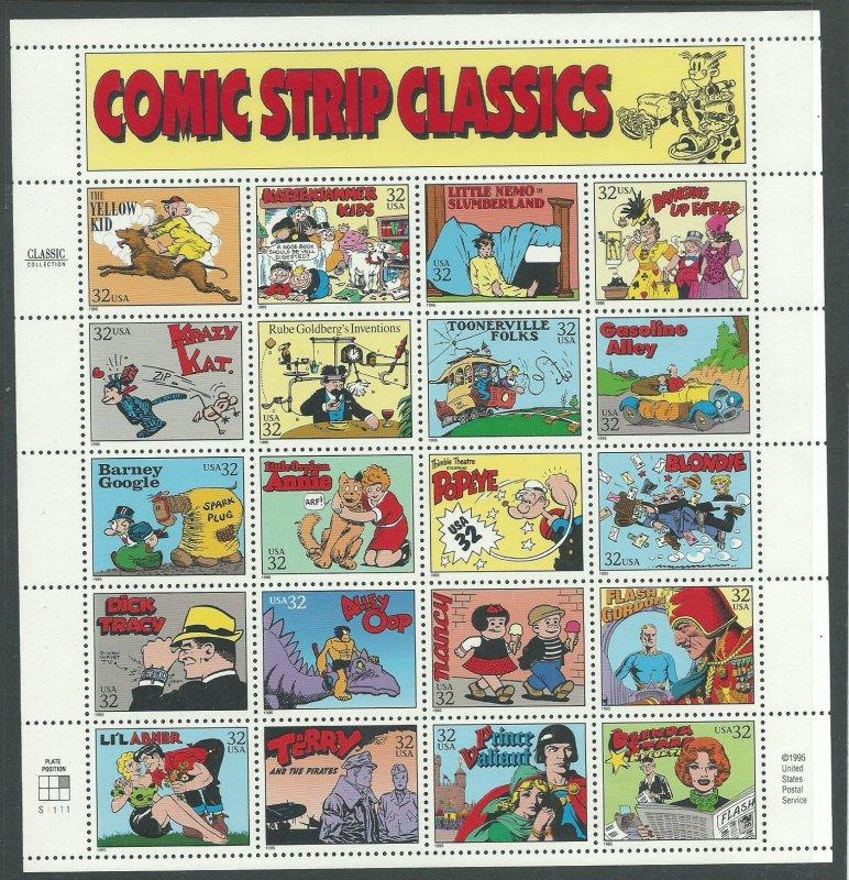 1995 United States Scott Catalog Number 3000 Unused Never Hinged Comic Strip Cla