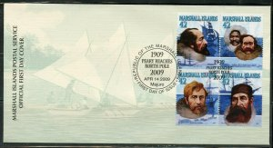 MARSHALL ISLANDS 2009 PEARY REACHES NORTH POLE SET ON FIRST DAY COVER