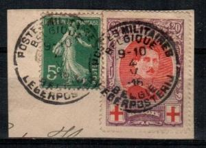 Belgium Scott B33 + french stamp on piece With WWI Military Cancels