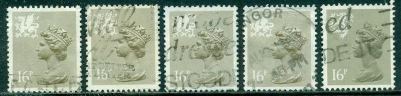 GREAT BRITAIN WALES SG-W43, SCOTT#  WMMH-28, USED, 5 STAMPS, GREAT PRICE!
