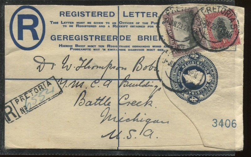South Africa 1928 registered envelope to Battle Creek Michigan USA