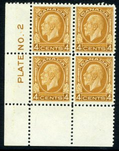 CANADA-1932-33 4c Yellow Brown.  A lightly mounted block of 4 from Plate 2