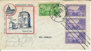 Virgin Islands USA Possessions Series 802-4 Airmail Use FDC Bluebeard's Castle