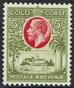 GOLD COAST 1928 KGV CASTLE 5/-