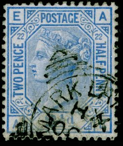 SG157, 2½d blue plate 22, USED. Cat £45. AE