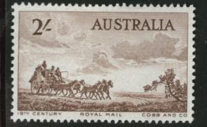 AUSTRALIA Scott 282 MH* 1955 2sh Mail Coach stamp