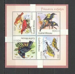 BC573 2012 GUINEA-BISSAU FAUNA EXTINCT BIRDS ON TREES PASSAROS EXTINTOS KB MNH
