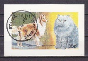 Staffa Local. 1973 issue. Dog & Cat s/sheet. ^