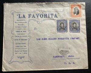 1925 Chile Advertising Cover To Sandusky OH USA La Favorita