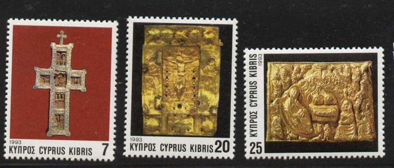 Cyprus 824-6 MNH Christmas, Carved Wooden Cross
